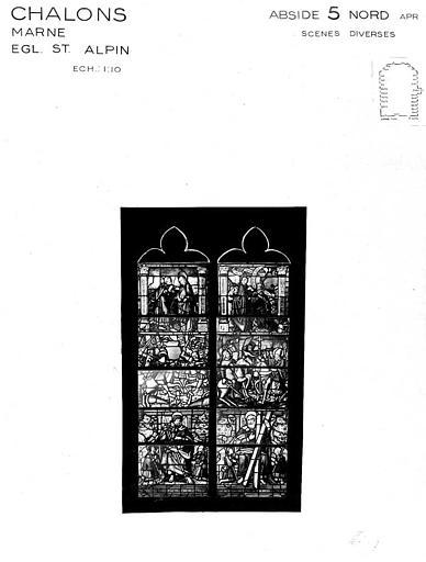 Scènes diverses, baie 5 de l'abside côté nord, panneau de vitrail