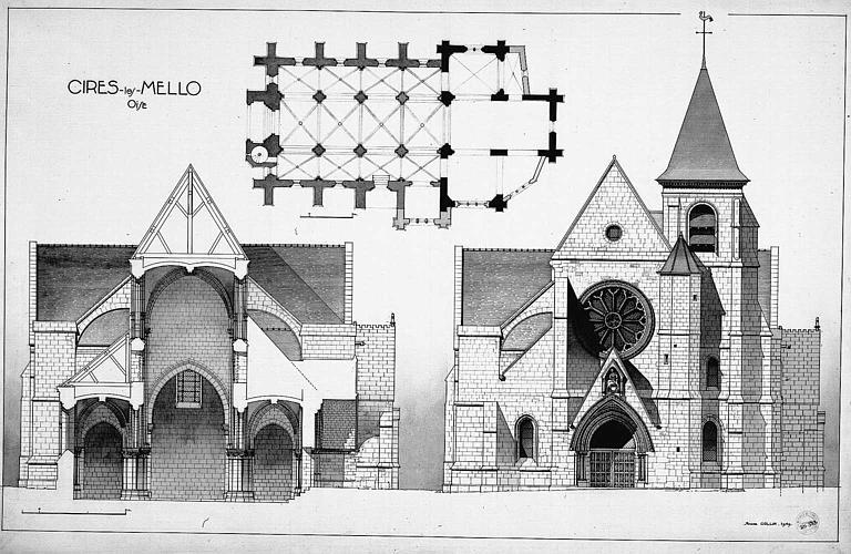 Gravure : Plan, coupe transversale sur la nef, élévation de la façade ouest