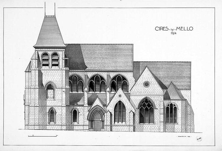 Gravure : Elévation de la façade sud