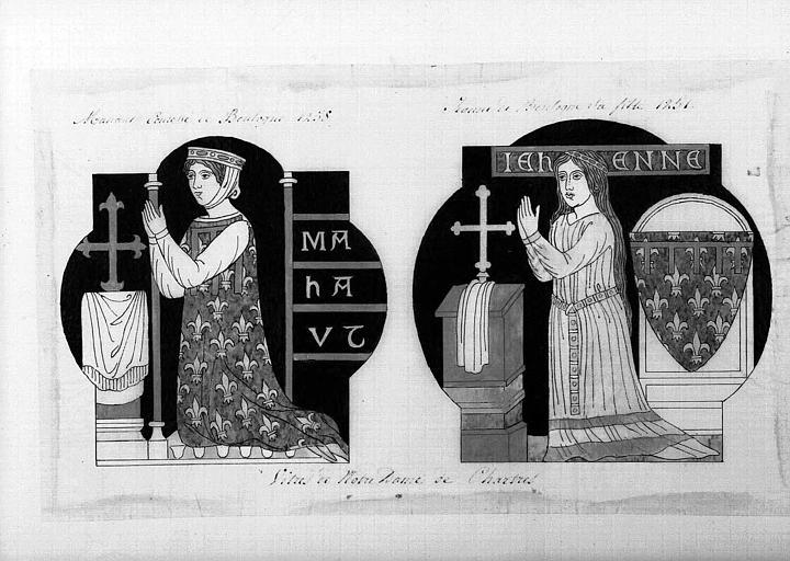 Relevé de panneau de vitrail (aquarelle) : Mahaut Comtesse de Boulogne et sa fille Jeanne de Boulogne