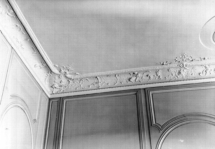 Bureau Louis XV au rez-de-chaussée : Corniche du plafond