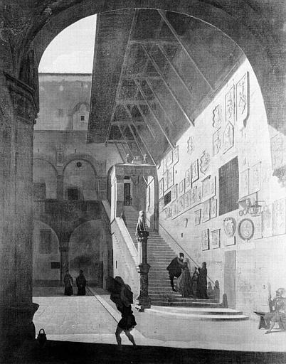 Peinture sur toile : Vue du grand escalier Bargelle à Florence