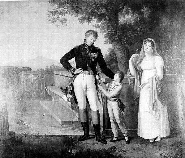 Peinture sur toile : Portrait du général Baron Rossetti et de sa famille