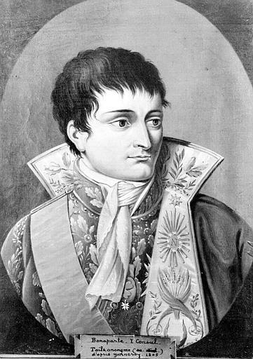Peinture à la gouache : Portrait de Bonaparte, 1e consul