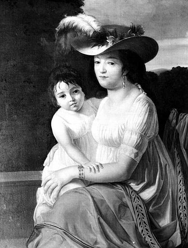 Peinture sur toile : Portrait d'une jeune femme et de sa fille