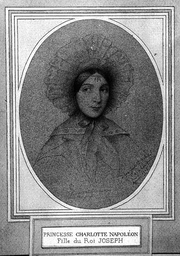Dessin à la mine de plomb : Portrait de la Princesse Charlotte Napoléon fille du Roi Joseph