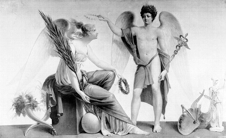 Peinture sur toile : Le Génie du Commerce et l'Abondance (dessus de porte)