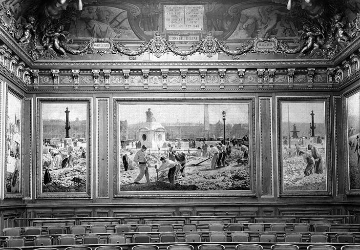 Peinture murale de la salle des Assemblées Générales : Travaux sur la place de la Concorde