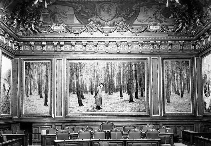 Peinture murale de la salle des Assemblées Générales : Homme dans les bois