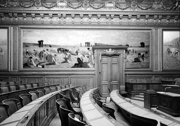 Peinture murale de la salle des Assemblées Générales : Les Moissons