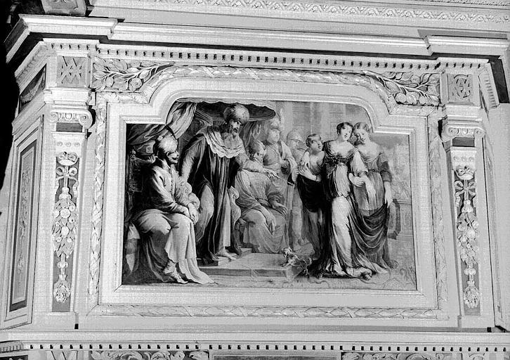 Chambre d'Esther, peinture murale au trumeau de la cheminée : Esther devant Assuérus