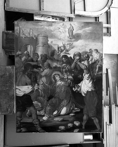 Peinture sur toile : La lapidation de saint Etienne