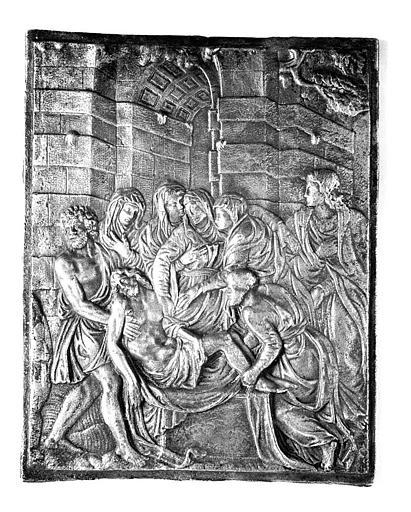 Plaque de bronze : Ensevelissement du Christ