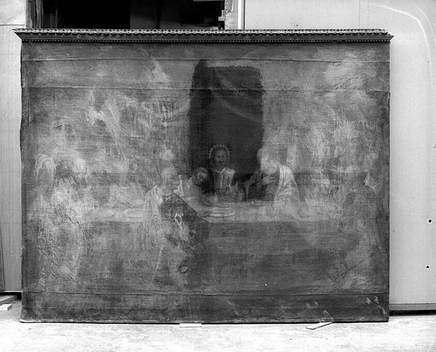 Peinture sur toile (Chapelle des oeuvres encastrée dans la boiserie) : La Cène