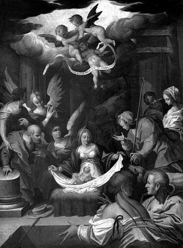 Peinture sur toile : Adoration des bergers