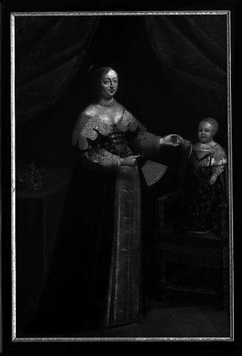 Peinture sur toile : Portrait de la Reine Anne d'Autriche présentant le Dauphin, futur Louis XIV