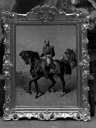 Peinture sur toile : Portrait équestre du Comte de Chambord