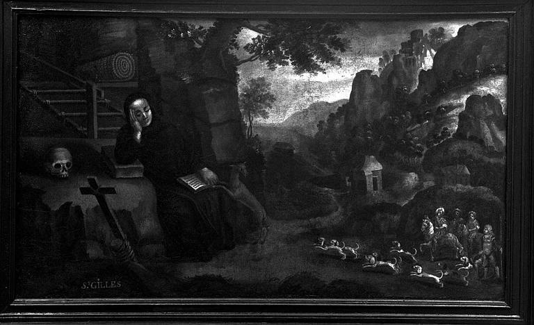 Peinture sur toile : Saint Gilles et la biche