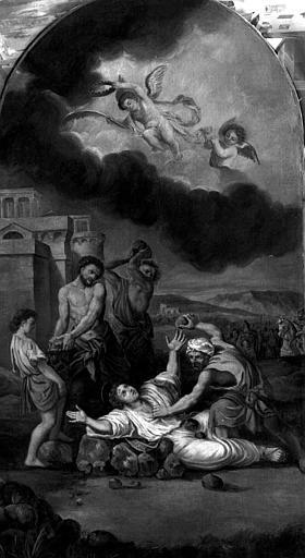 Retable latéral peint sur toile : Le Martyre de saint Etienne