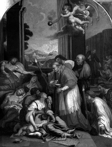 Peinture sur toile : Saint Charles Borromée communiant les pestiférés