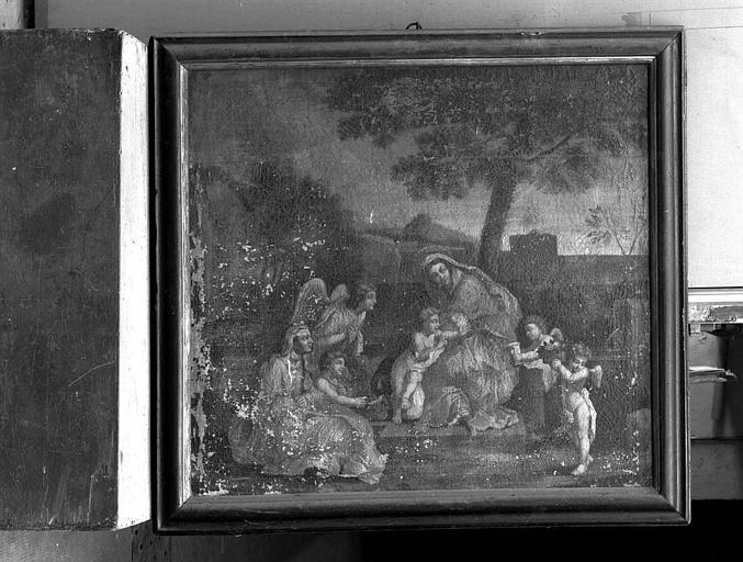 Peinture sur toile : La Vierge et l'Enfant, sainte Elisabeth et saint Jean-Baptiste