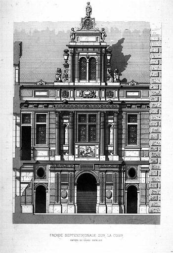 Gravure : Elévation de la façade septentrionale sur la cour (entrée du grand escalier)