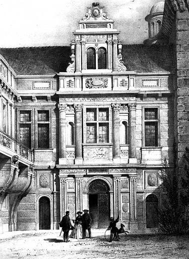 Lithographie : Vue perspective de la façade septentrionale sur la cour