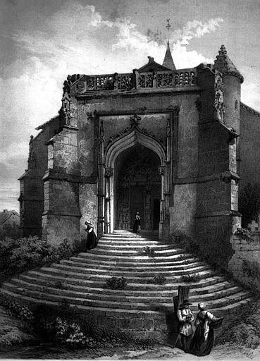 Lithographie : Vue perspective du portail
