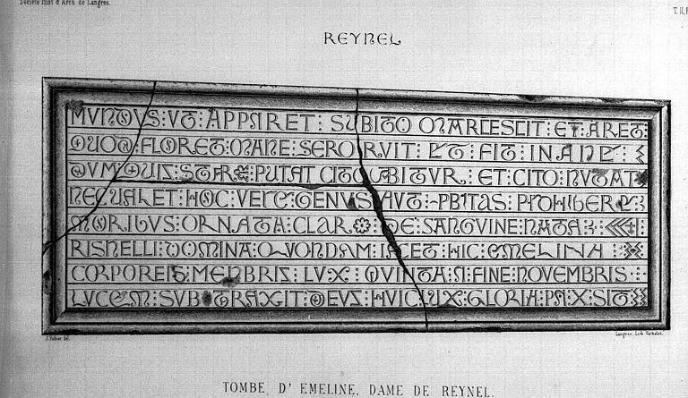 Lithographie : Inscription de la tombe d'Emeline, dame de Reynel