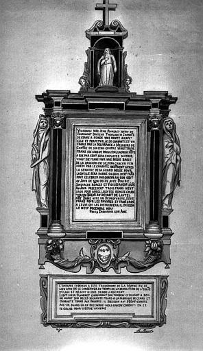 Gravure : Plaque de fondation de messe au nom de Jean Plumeret