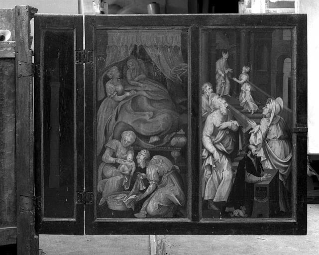 Panneaux peints en grisaille (Volet extérieur gauche du retable de la 1e chapelle du collatéral sud) : Naissance de la Vierge, Présentation au temple