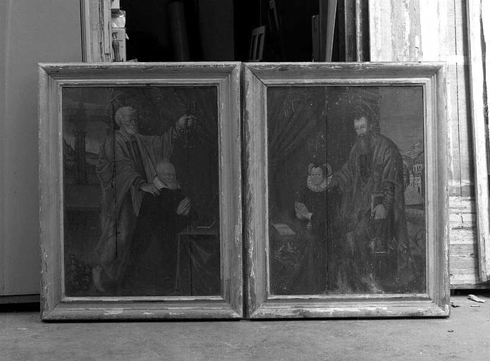 Deux panneaux peints : Saint Pierre et un donateur, Saint Paul et une donatrice