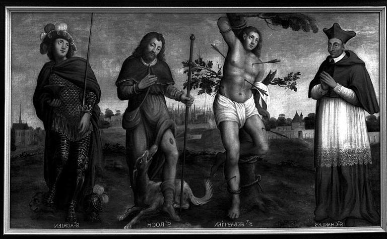 Panneau peint : Saint Charles, saint Adrien, saint Sébastien, saint Roch