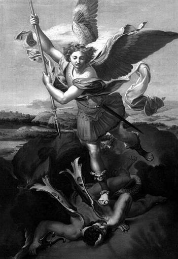 Peinture sur toile : Saint Michel terrassant le démon