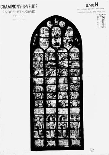 Les croisés devant Damiette, le Christ apparaît à sainte Madeleine, baie H, panneau de vitrail