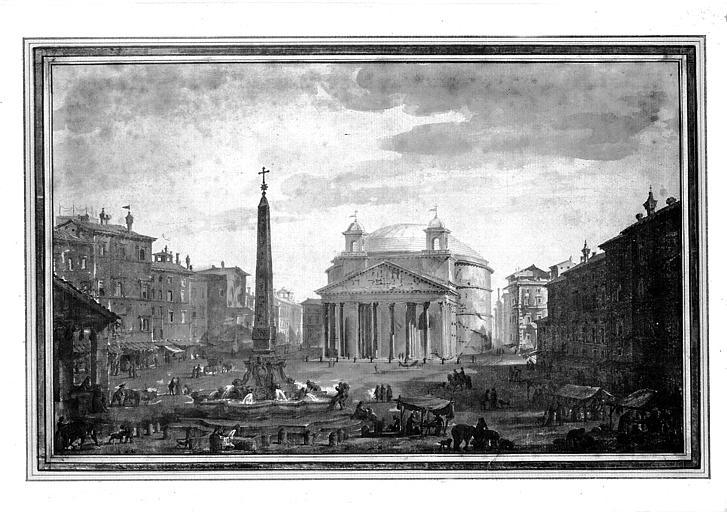 Dessin : Place du Panthéon à Rome