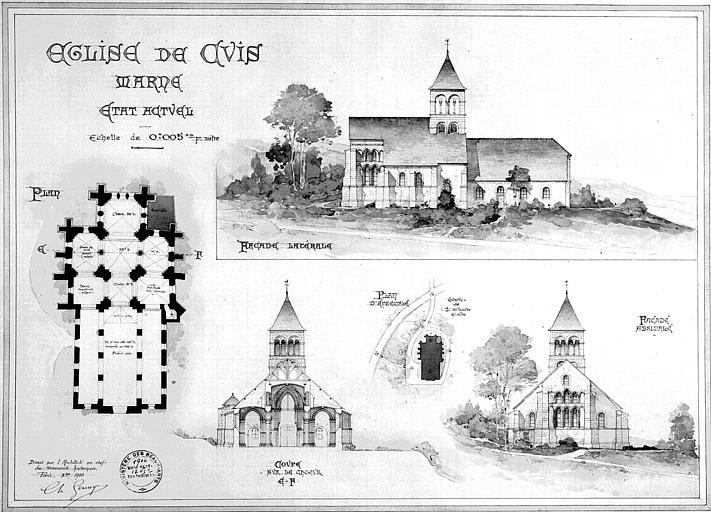 Plan, coupe transversale et élévation des façades latérale et absidale, état actuel (encre et aquarelle)
