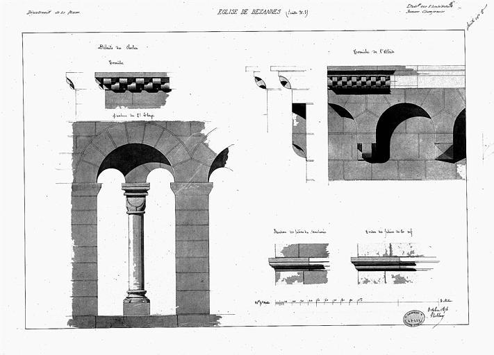 Détails, corniche et arcature du clocher, corniche de l'abside, bandeau des piliers