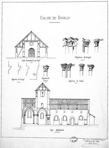 Coupes transversale et longitudinale, chapiteaux du transept et de l'abside