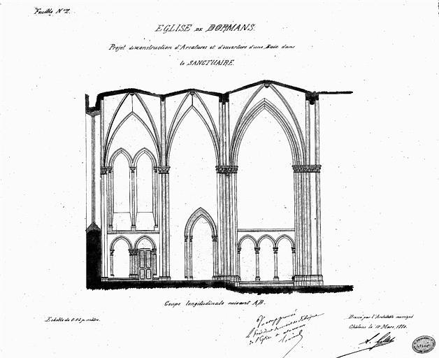Projet de reconstruction d'arcatures et d'ouverture d'une baie dans le sanctuaire : Coupe longitudinale de trois travées