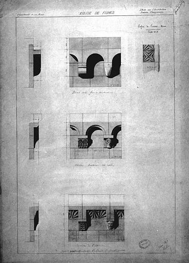 Détails des corniches du bras sud du transept et de l'abside