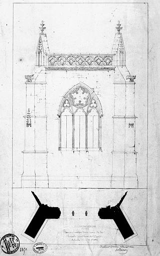 Plan et élévation d'une travée de la chapelle dans l'axe de l'abside