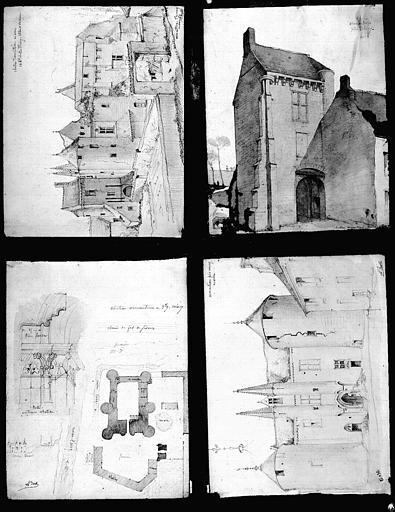 Quatre dessins à la mine de plomb rehaussé d'aquarelle : Plan et vues perspectives