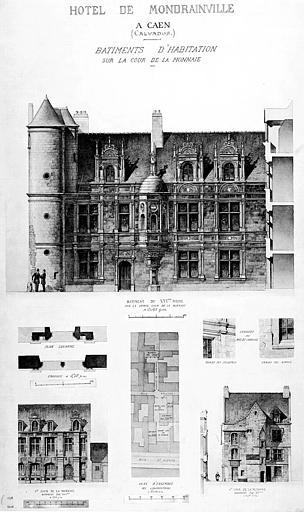 Elévation des bâtiments sur la cour de la monnaie au 16e, plan et détails (plume et aquarelle)