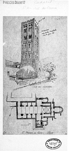 Plan et vue perspective du clocher (plume)