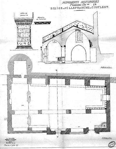 Plan, coupe transversale et détail du pilier et de sa décoration
