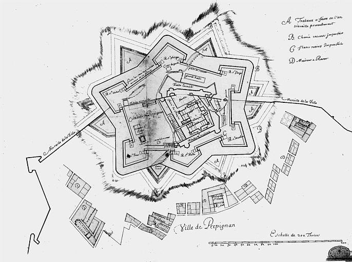 Plan de la ville et des fortifications