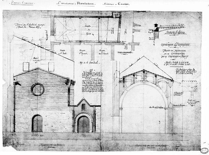 Projet de réfection de la couverture de la chapelle du Christ : Plan de situation, coupe et élévation