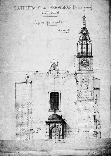 Elévation de la façade principale avec détail du clocher, état actuel (mine de plomb)