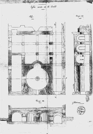 Plan et coupes de l'église ronde de la crèche (calque)